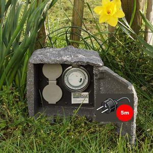 Außensteckdose Stein Dunkelgrau 2fach 5m Steckdose Zeitschaltuhr Gartensteckdose Steinsteckdose
