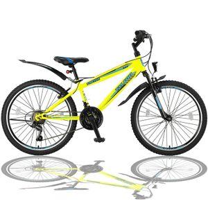 24 Zoll Fahrrad MTB mit Beleuchtung und 21-Gang Schaltung Gelb