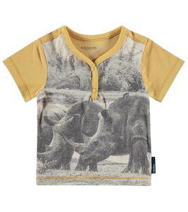 noppies T-Shirt auffälliges Kinder Shirt mit aufgedrucktem Nashorn Gelb, Größe:56