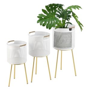 Pflanzständer Gerpinnes 3er Set Blumenständer-Set Pflanztopfhalter in 3 Größen Metall Weiß Messing