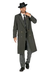 20er Jahre Peaky Blinders Mafia Mantel Herren Kostüm Oliv-Schwarz, Größe:48
