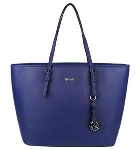 Shopper Tasche Tom & Eva TE-Jet Set Handtasche Groß Schultertasche Kunstleder Saffiano-Prägung Tote Bag Logo Anhänger Henkeltasche, Farbe:Blau