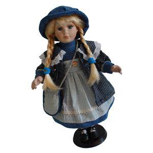 40cm Porzellan Viktorianische Puppe Stehende Mädchenpuppen mit Holzständer, für