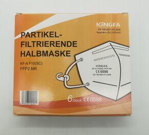 Kingfa FFP2 NR Partikel Filtrierende Halbmaske mit Ohrschlaufen KF-A F 10 (SC) CE0598 6 Stk. verpackt