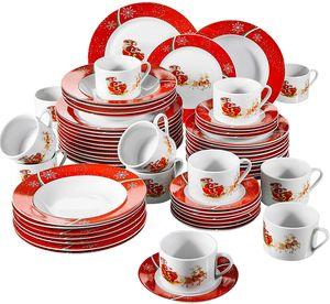 VEWEET, Serie CHRISTMASDEER, Porzellan Tafelservice, 60 tlg. Kaffeeservice für 12 Personen, mit Kaffeetassen, Untertassen, Dessertteller, Speiseteller und Suppenteller
