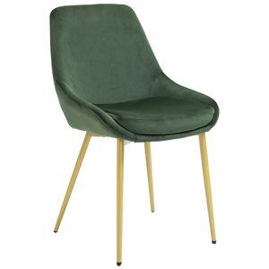 HOMCOM Esszimmerstuhl mit Rückenlehne Küchenstuhl vintage Polsterstuhl Polyester Stahl Grün 45 x 57,5 x 87,5 cm