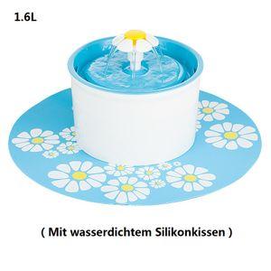Trinkbrunnen Little Flower für Tiere weiß-blau 1,6 Liter Mit wasserdichtem Silikonpad