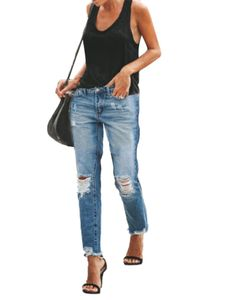 Sexydance Frauen Ankle Jeans Cropped Geradem Bein Lange Hosen Slim Destroyed Jeans Leggings,Farbe:Blau,Größe:XXL