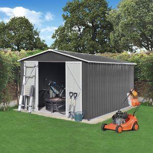 XXXL Metall Gerätehaus mit Fundament Satteldach 305x254x191cm Geräteschuppen Garten Schuppen Pultdach Grau