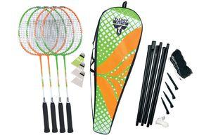 Talbot Torro Badminton-Set 4-Attacker Plus, Kolmplettset mit 4 Schläger, 3 Federbälle, komplette Netzgarnitur, in wertiger Tasche