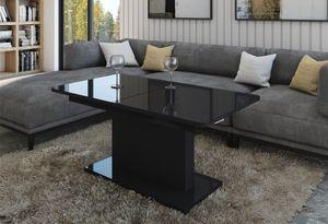 Design Couchtisch Tisch DC-1 Schwarz Hochglanz stufenlos höhenverstellbar ausziehbar Esstisch