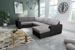 Wohnlandschaft Sofa Couch Ecksofa Eckcouch in Schwarz/ hellgrau - Fox 2