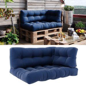 Vicco Palettenkissen Set Sitzkissen + Rückenkissen + Seitenkissen 15cm hoch Palettenmöbel Flocke blau