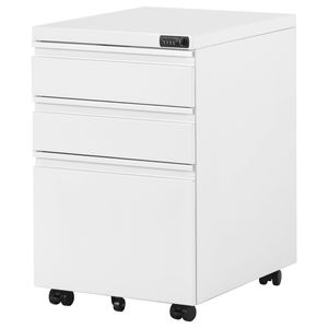 Merax Rollcontainer mit Passwortsperre , inkl. 3 Schübe, grundsolide Verarbeitung, optimal für Schreibtisch, Büromöbel, Schreibtisch Container, Rollkontainer Büro, Rollkontainer mit Schubladen