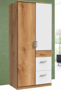 Wimex Kleiderschrank Schlafzimmer Schrank Click plankeneiche weiß 2-türig 90cm