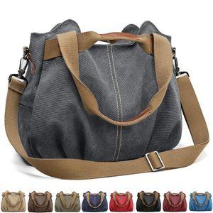 Handtasche Damen Canvas Schultertasche Multifunktionale Umhängetaschen Casual Hobo Groß Taschen für Arbeit Schule Beach Shopper Grau