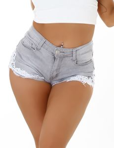 Hot Sommer High Waist Jeans Shorts mit Deko Häkelspitze, Farbe: Grau, Größe: 36