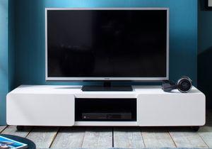 TV Lowboard Jeff in weiß matt 140 cm Board auf Rollen 2 Türen Absetzung schwarz