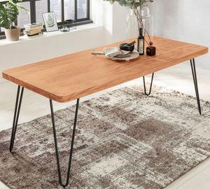 WOHNLING Esstisch BAGLI Massivholz Akazie 120 x 76 x cm 80 Esszimmer-Tisch Küchentisch modern Landhaus-Stil Holztisch mit Metallbeinen dunkel-braun Natur-Produkt Massivholzmöbel Echt-Holz unbehandelt