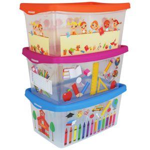 3er Set Aufbewahrungsbox KIDS 4L Spielkiste Kinder Staubox Stapelbox Aufbewahrungskiste Spielzeug