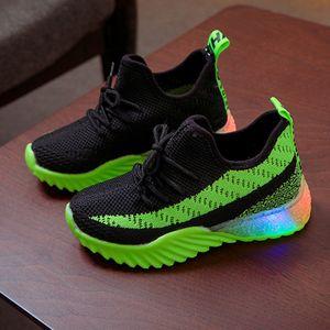 Kinder Kind Baby Mädchen Jungen Süßigkeiten Farbe Led Luminous Sport Run Sneakers Schuhe Größe:28.5,Farbe:Grün