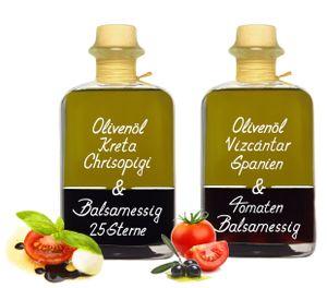 Dressing Duo je 350ml Olivenöl Vizcantar & Tomaten Essig und Kreta Olivenöl & 25 Sterne Balsam Essig