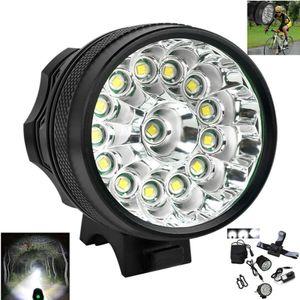 15Leds XML T6 LED 52000Lm Fahrrad Licht Fahrrad Scheinwerfer Lampe EU 6 * 18650 Akku, Schwarz
