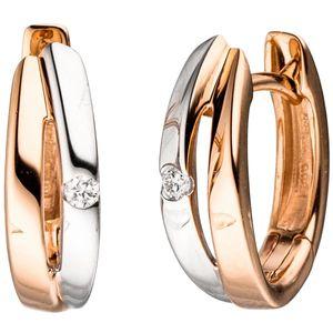 JOBO Creolen 585 Gold Rotgold bicolor 2 Diamanten Brillanten Ohrringe Goldcreolen