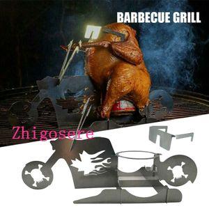 Hühnerständer Motorrad BBQ Edelstahlgestell mit Brille 33 * 16,5 * 13cm