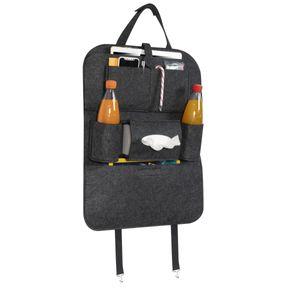 Navaris Auto Rücksitz Organizer Rücklehnenschutz - 56 x 42 cm - Filz Autositz Rückenlehnentasche - Kinder Rückenlehnenschutz Tasche in Schwarz