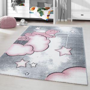 Kurzflor Kinderteppich Bärchen Wolken Kinderzimmer Babyzimmer Teppich Grau Pink, Grösse:120x170 cm