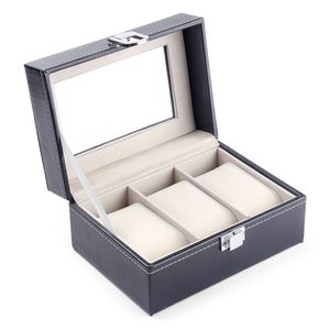 3 Steckplätze Uhrenbox Uhrengehäuse Organizer Lederschmuck Uhren-Aufbewahrungsbox