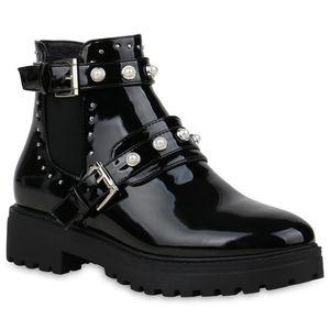 Mytrendshoe Damen Stiefeletten Plateau Boots Nieten Schnallen Schuhe 834166, Farbe: Schwarz Silber, Größe: 39