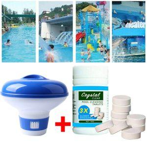 1 Stück Chemikalienschwimmer Dosierschwimmer Chlor Dosierer Tabletten Chlorspender + 1 Flasche Reinigungstabletten Pool Schwimmbad Zuhause Reinigung Tool