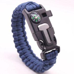 Paracord Survival Armband Multi-Tool Outdoor Notfall Messer Kompass Feuerstein - Blau