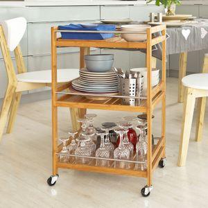SoBuy Küchenregal, Küchenwagen, Baderegal aus Bambus mit Rollen FKW11-N