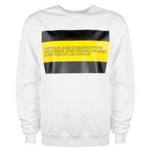 "Calvin Klein Sweatshirt ""Yellow Flag"" -  J90J900045 / Yellow Flag - Weiß-  Größe: M(EU)"