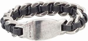 Police Leder Edelstahl Antique Armband schwarz PJ25600BSE.01-S Shock