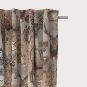 SCHÖNER LEBEN. Vorhang Landhaus Hirsch beige braun schwarz 245cm oder Wunschlänge, Gardinen Aufhängung:Smok-Schlaufenband