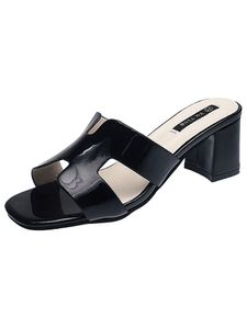 Damenmode Einfarbige Sandalen Pantoletten High Heels Open Toe Sandalen Und Hausschuhe,Farbe: Schwarz,Größe:35