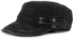 styleBREAKER Military Cap im washed Destroyed used Look, Vintage, Risse und Löcher, verstellbar, Unisex 04023011, Farbe:Schwarz
