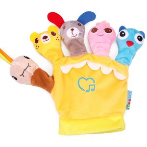 Fingerpuppen, Stofftiere, Comic-Tiere, mit Musik, Eltern-Kind-Interaktion, linke Hand, gelb