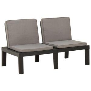 vidaXL Garten-Lounge-Bank mit Auflagen Kunststoff Grau