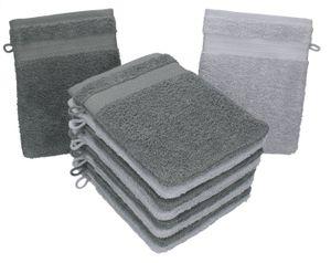 Betz 10er Waschlappen Set PREMIUM aus Baumwolle, Größe 16x21 cm, Farbe anthrazit und silbergrau