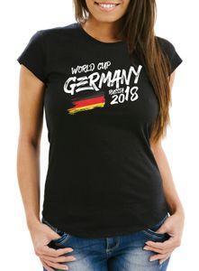 Damen Fan-Shirt Deutschland WM 2018 Fußball Weltmeisterschaft Trikot Flagge T-Shirt Fußball-Shirt Deutschland-Shirt Fan-Trikot Deutschland-Trikot Moonworks® schwarz S