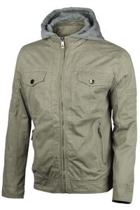 Herren Cotton Jacke Übergangsjacke mit Kapuze Sommer Frühling Windbreaker, Größe:XL, Farbe:Khaki