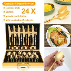 Wolketon 24 in 1 Edelstahl Geschirr Set Messer Loeffel Gabel Besteck Holzkiste westlichen Geschirr Supplies (gold)