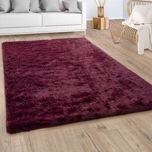 Hochflor Teppich Wohnzimmer Fellteppich Kunstfell Shaggy Flauschig  Bordeaux Rot, Grösse:Ø 160 cm Rund