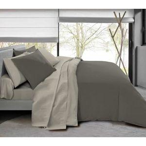 Komplettpaket 6 Stück Taupe / Leinen Bettbezug für Bett 140 x 190 cm 100% Baumwolle / 57 Fäden / cm²