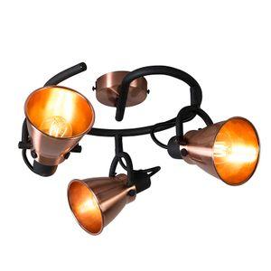 QAZQA - Klassisch | Antik Klassischer Spot | Spotlight | Deckenspot | Deckenstrahler | Strahler | Lampe | Leuchte Kupfer - Jos 3-flammig Spotbalken | Wohnzimmer | Schlafzimmer | Küche - Metall Rund - LED geeignet E14